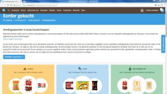 Albert Heijn maakt gebruik van eHealth bij de nieuwe online dienst Mijn Voedingswaarden