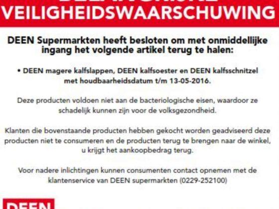 NVWA waarschuwt voor kalfsvleesproducten Deen